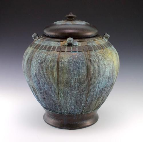 Large Chinese inspired bronze patina lidded vessel