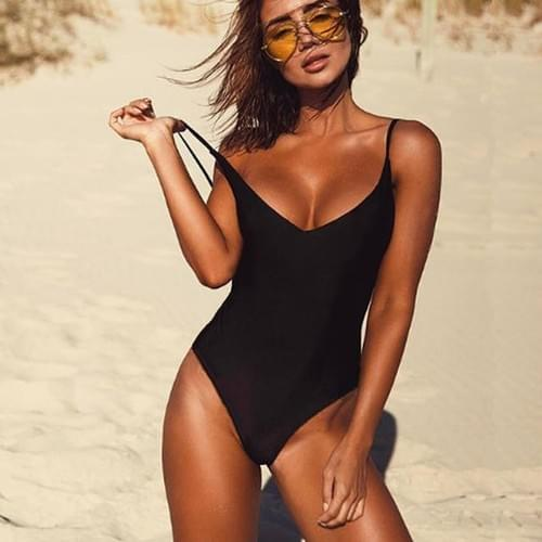 One Piece Swimsuit Solid Black Thong Backless Set