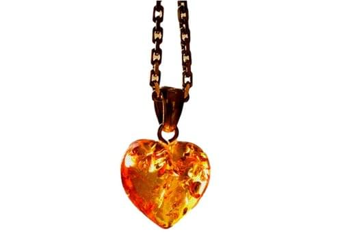 Simojovel Amber Heart Necklace Gold Chain