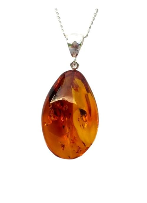 Simojovel Amber Pendant Necklace Cognac 8.1 g Chain .925 Mexican Silver Sterling