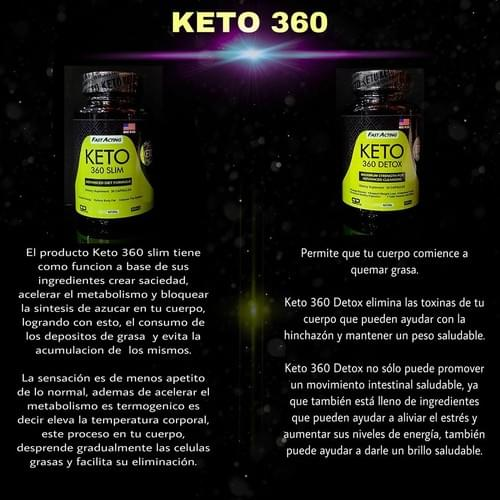 Keto 360 Slim y Keto 360 Detox Acelera Metabolismo y Desintoxica Frascos con 30 Capsulas c/u