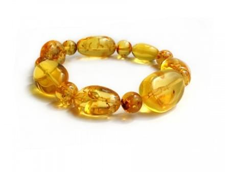 Stretchy Bracelet With Yellow Simojovel Amber Beads