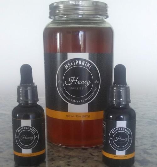 Melipona Honey Reddish100% Pure 32 fl.oz Get FREE 2 droppers 1 fl.oz each