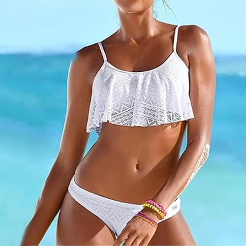 Sexy Brazilian Low Waist Beach Lace Up Flounce Set