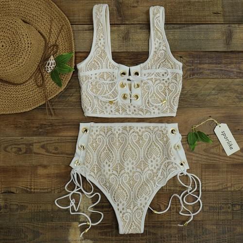 Sexy  Bikini Lace High Waist Swimsuit Set 2019