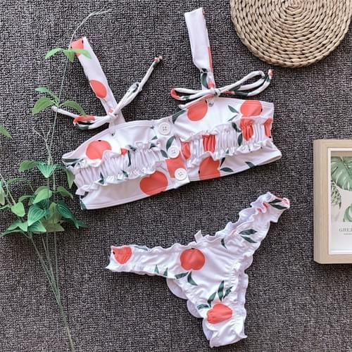 Brazilian Button Bikini Sexy Ruffle Swimwear Floral Set