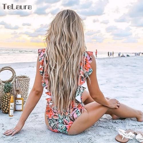 Brazilian Bodysuit Print Backless Beach Wear Set 2019