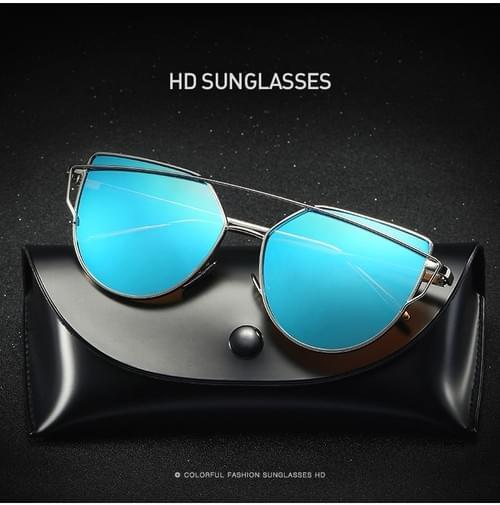 Cat Eye Vintage Brand Designer Rose Gold Mirror Sunglasses