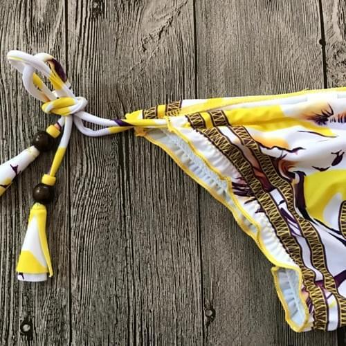 Brazilian Bikini Two Pieces Strap Split Padded Print Set