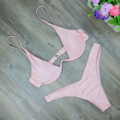 New High Cut Thong High Waist Solid Brazilian Bikini Set