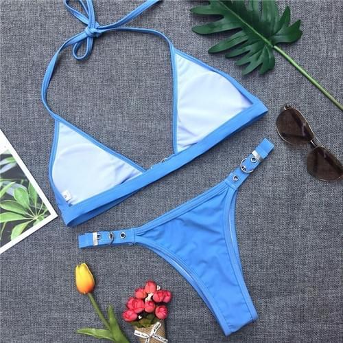 Brazilian Bikini Solid Swimwear Women Bandage Adjust Set