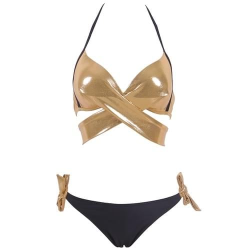 Sexy Bikini Push Up Swimwear Cross Bandage Halter