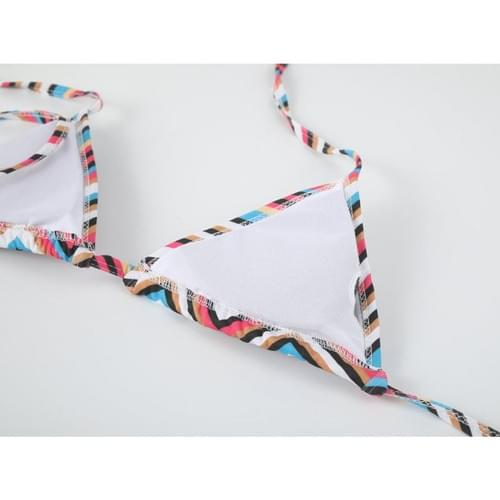 Brazilian Sexy Color Striped Bikini  Mid Waist Sets