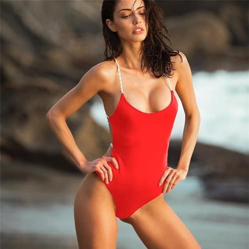 Brazilian Bandage One Piece Swimsuit Solid Swimwear Halter 2019