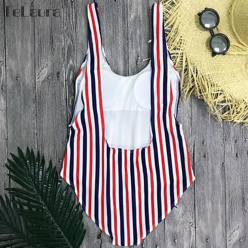Striped One Piece Swimsuit Sexy Monokini Padded Set