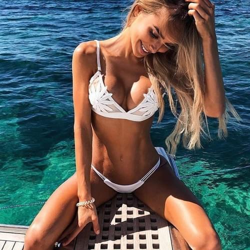 Brazilian Sexy White Mesh Embroidered Flower Strappy Bikini 2019