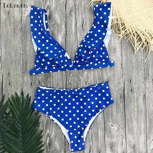 Sexy High Waist Bikini Push Up Dots Ruffle Set