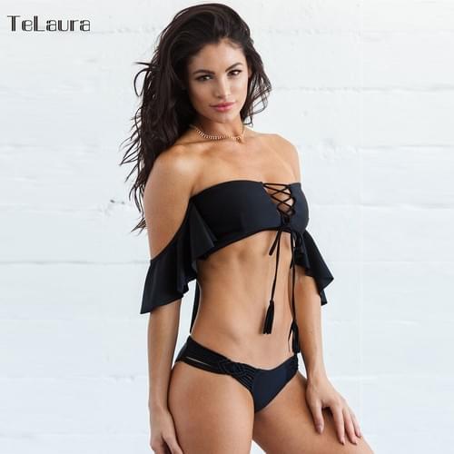 Sexy Crochet Brazilian Bikini Off Shoulder Set