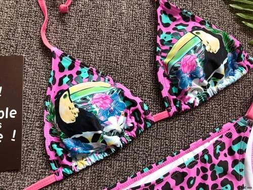 Brazilian Sexy Bikini Parrot Beach Girl 2019 Set