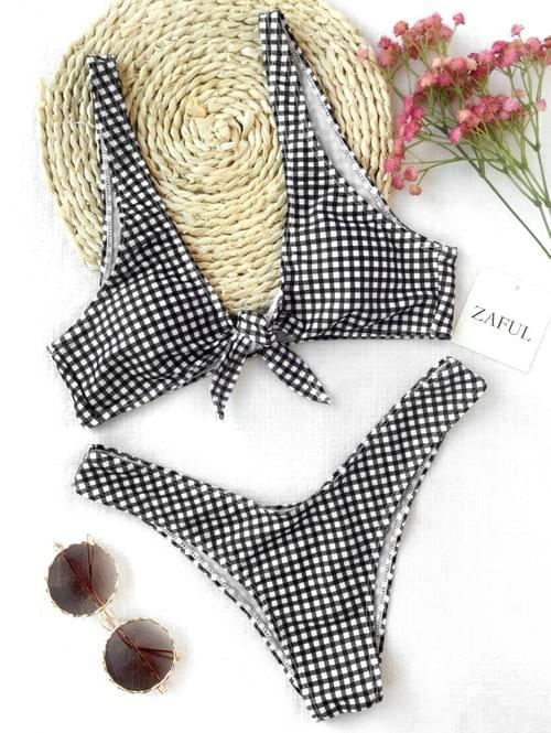 Brazilian Bikini 2020 Thong Plaid Front Tie Bikini Set
