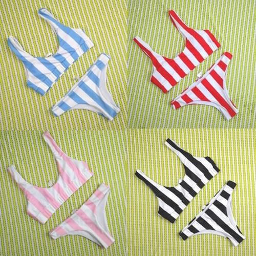 Brazilian Striped Bikini Push Up Padded 2019 Set