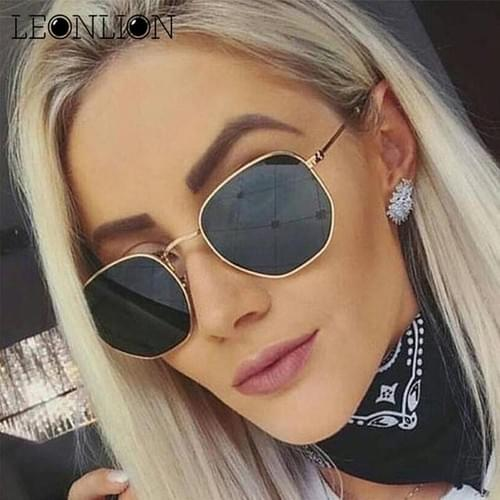 LeonLion 2019 Polygonal Sunglasses Women Glasses Lady Luxury Retro Metal