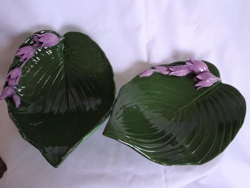 Large Hosta leaf dish with flowers