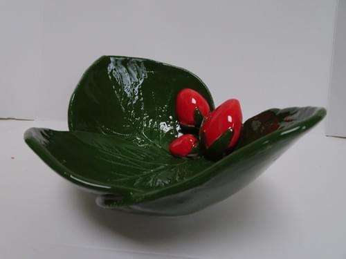 Strawberry, three leaf dish