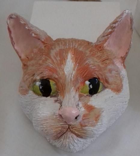 Ceramic, wall hanging cats head