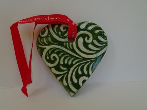 Green embossed clay heart