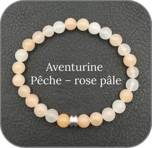 Bracelet Pierre naturelle rose 6mm Au choix : Quartz rutile, Tourmaline, Aventurine pêche etc...