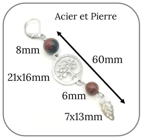 Boucles d'oreilles Arbre de vie Acier argent pierre naturelle 6mm et 8mm -  Pierre au choix