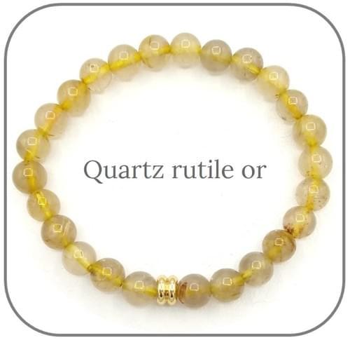 Bracelet Pierre naturelle jaune-or 6mm Au choix : Citrine, Quartz rutile or, Jade jaune