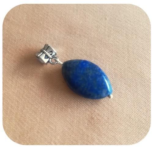 Pendentif argent 925 ou alliage argenté Œil de cheval en Lapis Lazuli