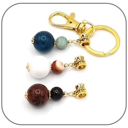 Porte clés Pendentif doré 2 en 1 Pierre naturelle 14mm et 8mm au choix