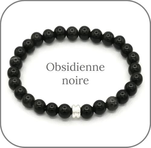 Bracelet Pierre naturelle Noire 6mm Au choix : Onyx, Obsidienne noire, Tourmaline