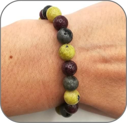 Bracelet Serpentine, Grenat et Labradorite