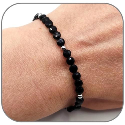 Bracelet Obsidienne Pierre semi-précieuse Monture acier doré, argent ou or rose