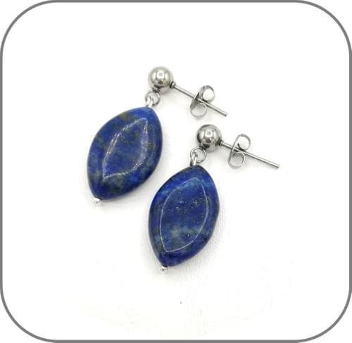 Boucles d'oreilles Acier et Pierre Ovale Oeil de tigre, Quartz rose, Labradorite, Lapis lazuli