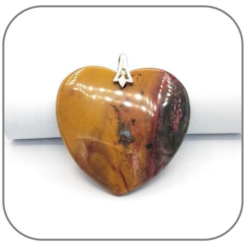 Gros pendentif Cœur Jaspe Terre de sienne - 3 Pierres uniques