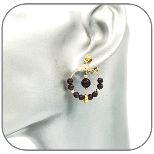 Boucles d'oreilles Acier Créoles dorées pierre naturelle 4mm - Pierre au choix