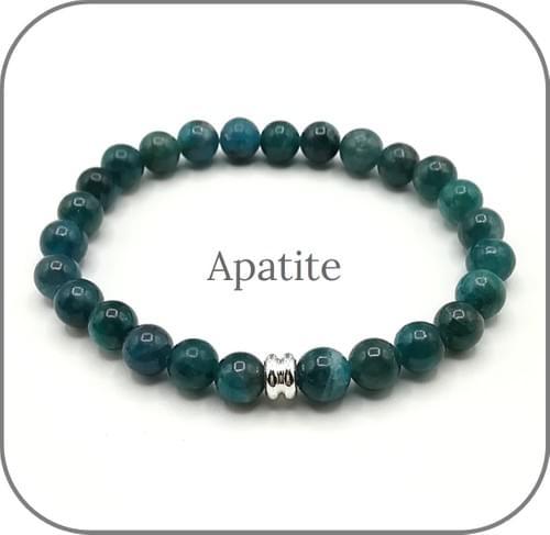 Bracelet Pierre naturelle Bleu-Vert 6mm Au choix Amazonite, Jade Myanmar, Apatite