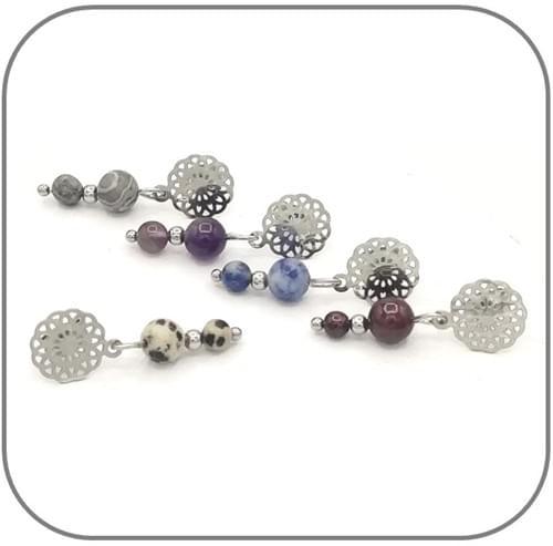 Boucles d'oreilles Fleur en filigrane en acier et pierres naturelles - pierres au choix