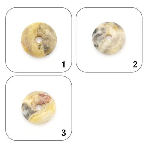 Pendentif Donut Agate gris jaune crème 2 Modèles uniques
