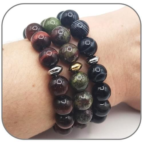 Bracelet pierre naturelle 10mm - Pierres Protection au choix