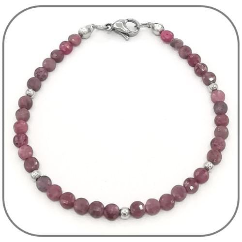 Bracelet Rubis pourpre Pierre précieuse Monture acier doré, argent ou or rose