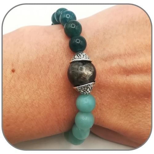 Bracelet Expression de soi Labradorite, Apatite et Amazonite