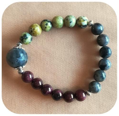 Bracelet Labradorite, Serpentine et Grenat