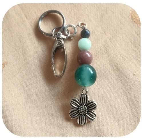 Porte clés Pierres naturelles (perles 14, 10, 8, 6mm) et moyenne breloque - 6 modèles au choix