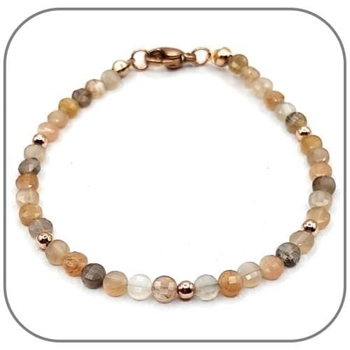 Bracelet Pierre de Soleil Pierre semi-précieuse Monture acier doré, argent ou or rose